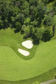 Aerial view of a golf fairlway and bunkers — Stock Photo