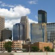 Panorama of Minneapolis skyline viewed from the northwest - Stock Photo