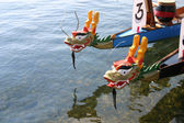 Dragon boats wait for next race in Grand Marais, Minnesota — Stock Photo