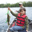 Young fisherman proudly shows first walleye of the day — Stock Photo