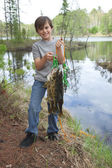 Young fisherman proudly holds up stringer of walleyes — Stock Photo
