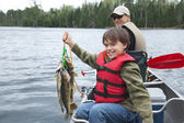 Young fisherman proudly holds stringer of walleyes — Stock Photo