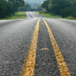 Stock Photo: Low angle view of curving road in Texas Hill Country
