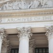 Facade of National Archives building in Washington DC - Stock Photo