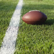 Football on grass field at goal or yard line — Stock Photo