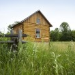 Stock Photo: Early settlers' log cabin on prairie