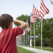 Boy salutes flags at Memorial Day display in a small town — Stock Photo #26677545