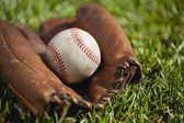 Vintage baseball mitt with an old ball in the grass — Stock Photo