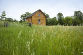 Old settler's cabin viewed from grassy field — Stock Photo