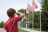 Boy salutes flags at Memorial Day display in a small town — Stock Photo