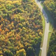 Stock Photo: Aerial view of road curving through woods in fall color