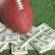Stock Photo: NFL football on field with pile of money