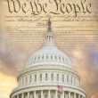 US Capitol dome with the Constitution — Stock Photo