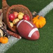 College style Football with a cornucopia on grass field — Zdjęcie stockowe