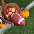 College style Football with a cornucopia on grass field — Stock fotografie