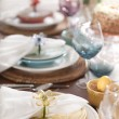 Stock Photo: Selective focus view of Spring or Easter dining place settings