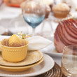 Stock Photo: Selective focus view of Easter dining scene