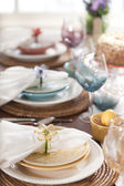 Selective focus view of Spring or Easter dining place settings — Stock Photo