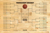 Basketball tournament bracket on wood gym floor — Stock Photo