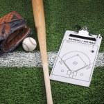 Baseball mitt, bat and clipboard on grass with stripe — Stock Photo