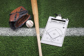 Baseball mitt, bat and clipboard on grass with stripe — Stock Photo