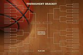 Basketball tournament bracket with spot lighting on wood gym flo — Foto Stock