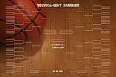 Basketball tournament bracket with spot lighting on wood gym flo — Stock Photo