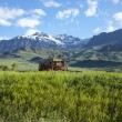 Old covered wagon in the Absaroka Mountains of Wyoming — Stock Photo