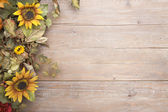 Fall border with sunflowers on a grunge wood background — Stock Photo