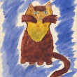 Child's watercolor drawing of cat. - Stock Photo