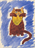 Child's watercolor drawing of cat. — 图库照片
