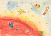 Child's watercolor drawing of space. — ストック写真