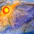 Drawing watercolor by hand. The sun and storm sky — Stock Photo