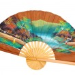 Chinese decorative fan on a white — Stock Photo