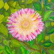 Stock Photo: Pink flower on green leaves background. Watercolor.