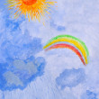 Watercolor drawing by hand. Sun, rain, rainbow. — Zdjęcie stockowe