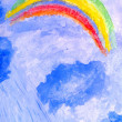 Royalty-Free Stock Photo: Storm, clouds, rain and rainbows. watercolor