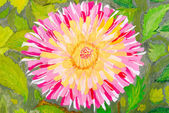 Pink flower on green leaves background. Watercolor. — Stock Photo