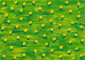 Watercolor paint. summer flowers on a green meadow — Stock Photo