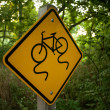 Stock Photo: Sign bike slippery
