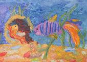 Children's drawing of fish in the aquarium — Stock Photo