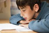 Rapaz fazendo lição de casa — Foto Stock
