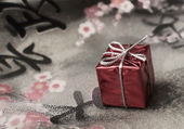 Gift on the fabric — Foto Stock