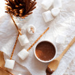 Hazelnut Butter, Marshmallows and Pretzels - Stock Photo