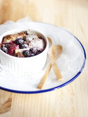 Mixed Berries and Chocolate Chip Bread Pudding — Stock Photo
