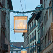 Central Strasbourg street Christmas decorations — Stock Photo