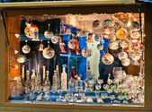 Show-window with New Year's spheres — Stock Photo