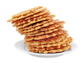Pile of sweet waffles on a plate. — Stock Photo