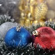 Christmas balls and garland — Stock Photo