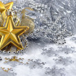 Gold stars and christmas decorations — Stock Photo
